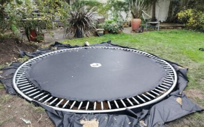Shed base, cable trench, sunken trampoline, and a pond – all in 2 days!
